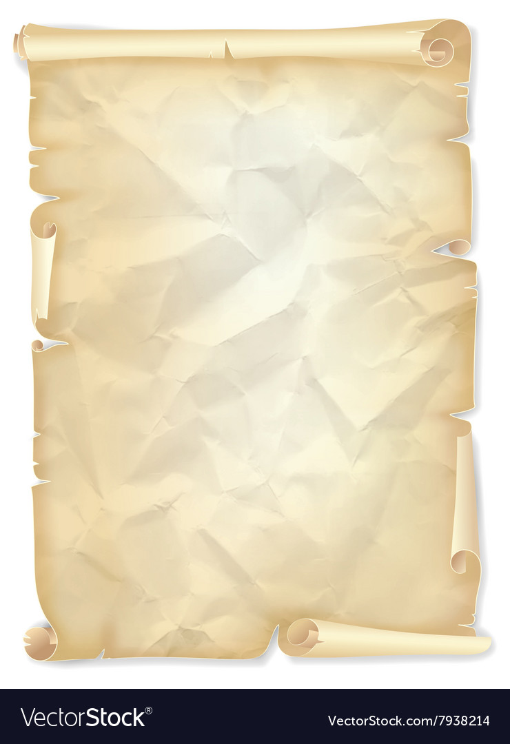 Old crumpled scroll of yellowed paper