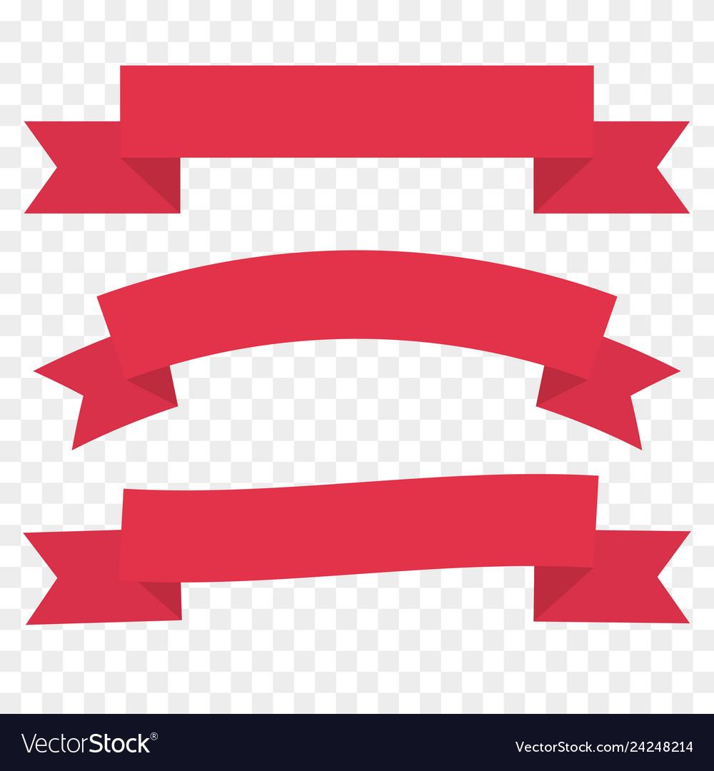 Red ribbon set vintage decor element template