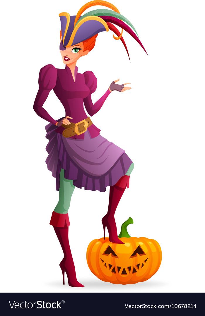 Redhead woman in purple pirate Halloween costume