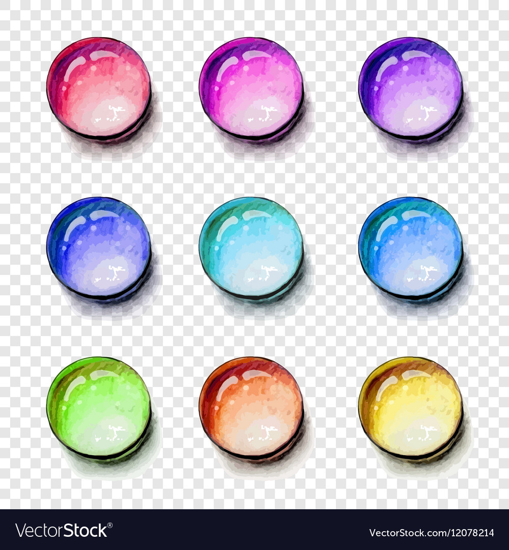 Round shape gems colorful set with transparent