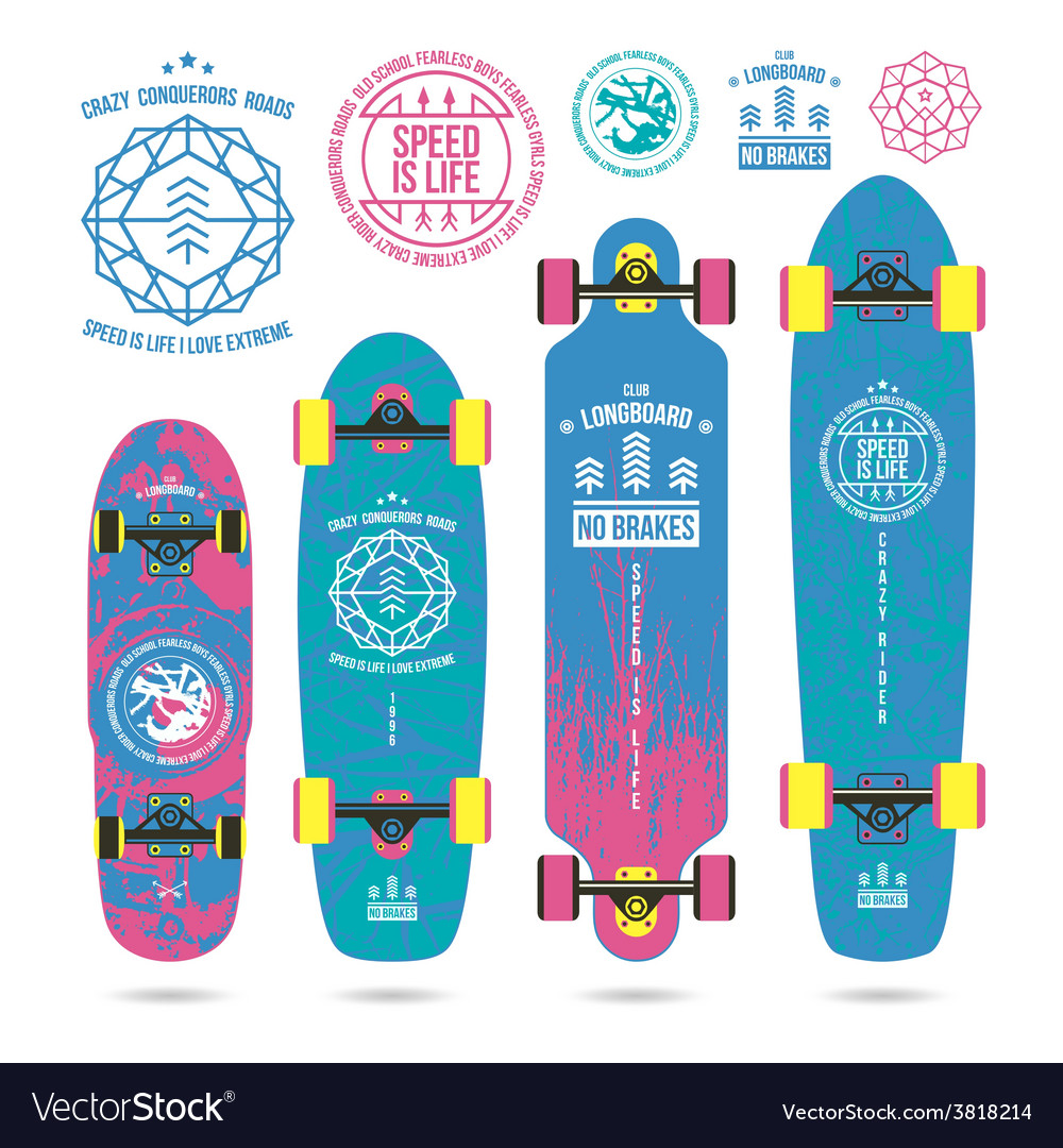 Set of outline emblems on longboard vector image