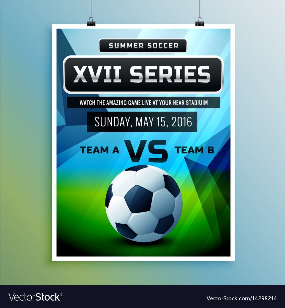 soccer championship flyer template royalty free vector image