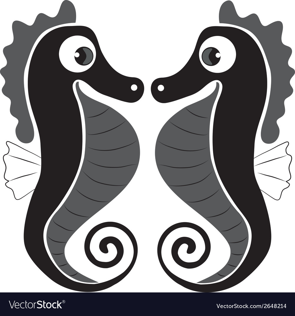 Two Beautiful Seahorse With Big Eyes Looking At Vector Image