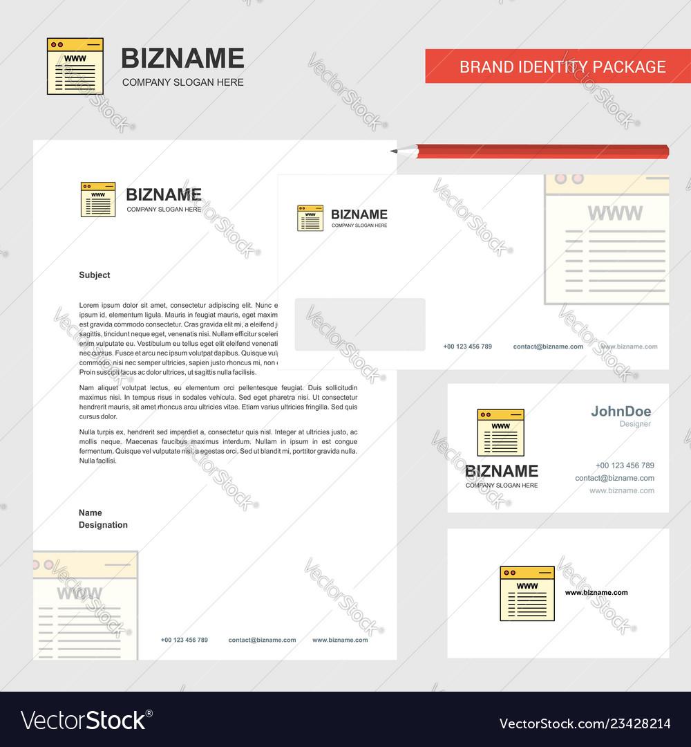 Website business letterhead envelope and visiting