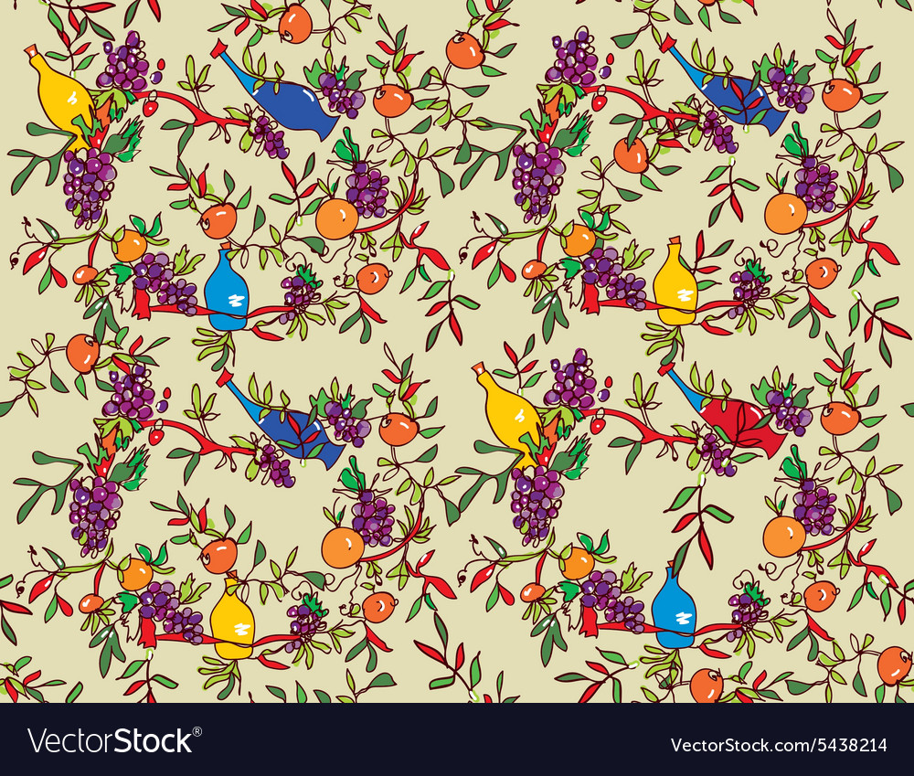 Wine seamless pattern with bottles vines