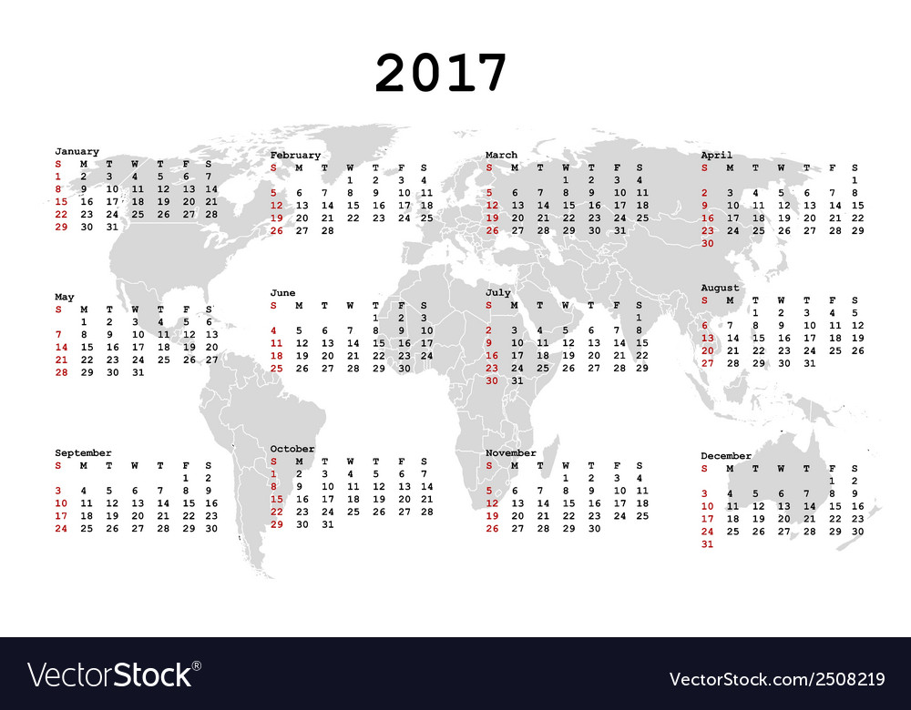 2017 Calendar for agenda with world map