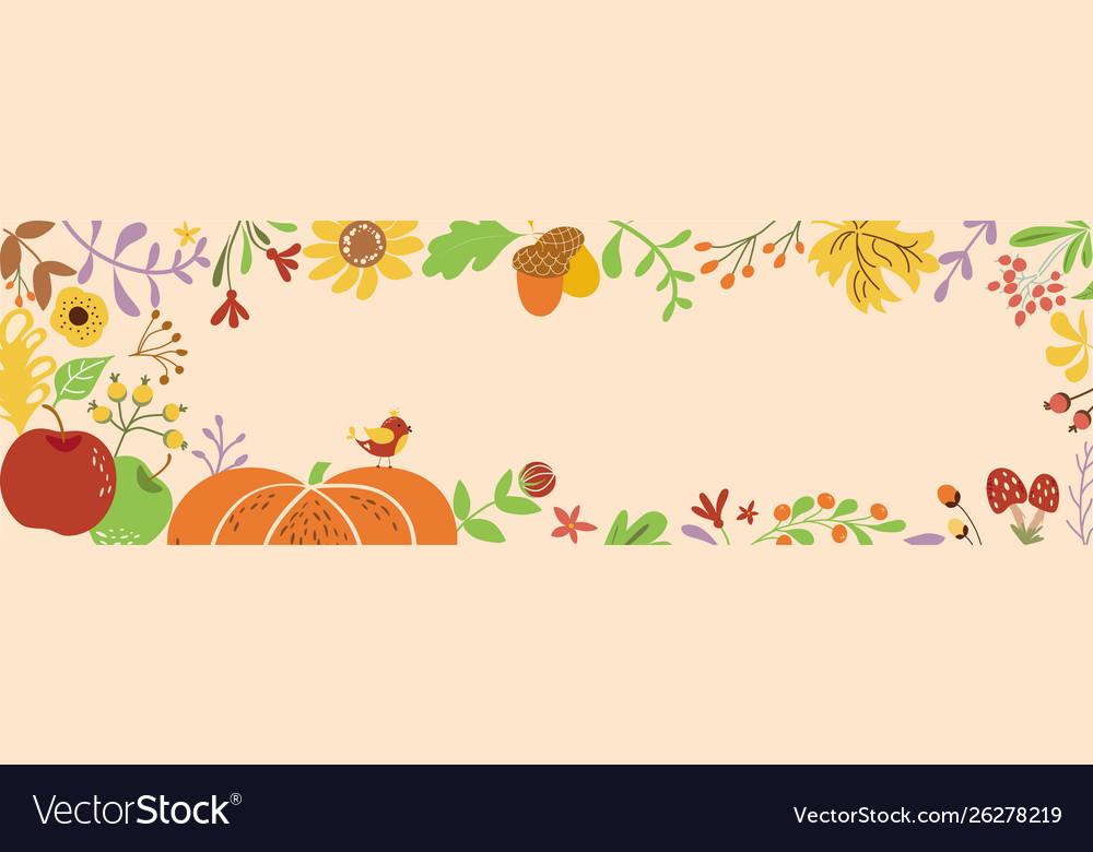 Autumn border horizontal decorated pumpkin fall