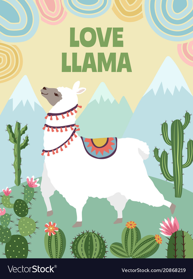 Background picture of llama mountains and