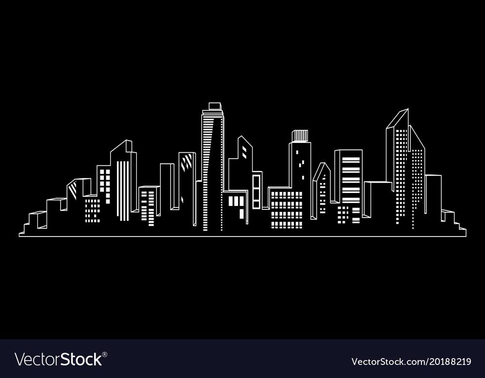 Black cities silhouette icon set on black