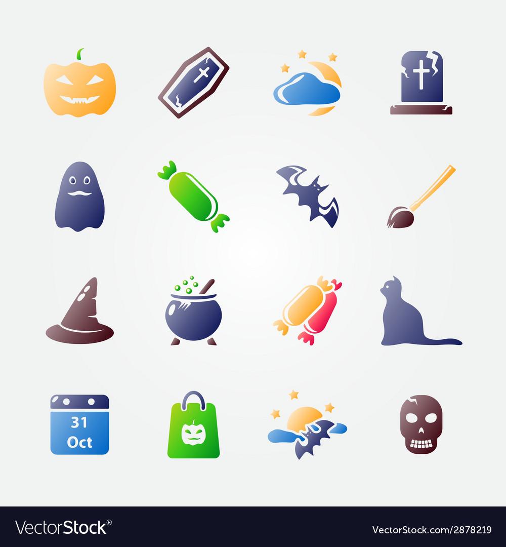 Bright halloween icon set vector image
