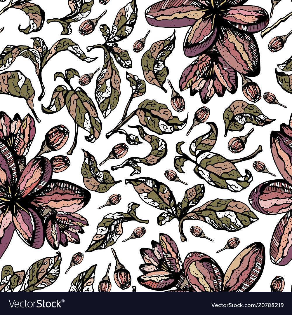 Colorful seamless pattern with leaves and flowers