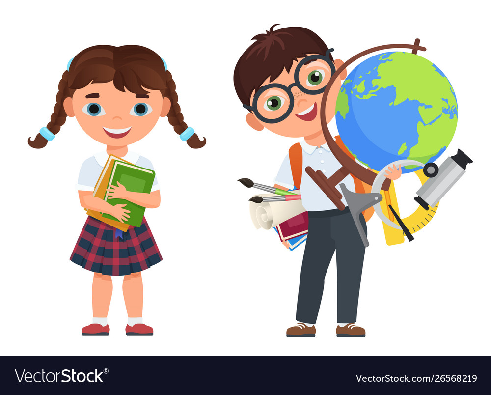 Cute kids couple with school supplies school boy