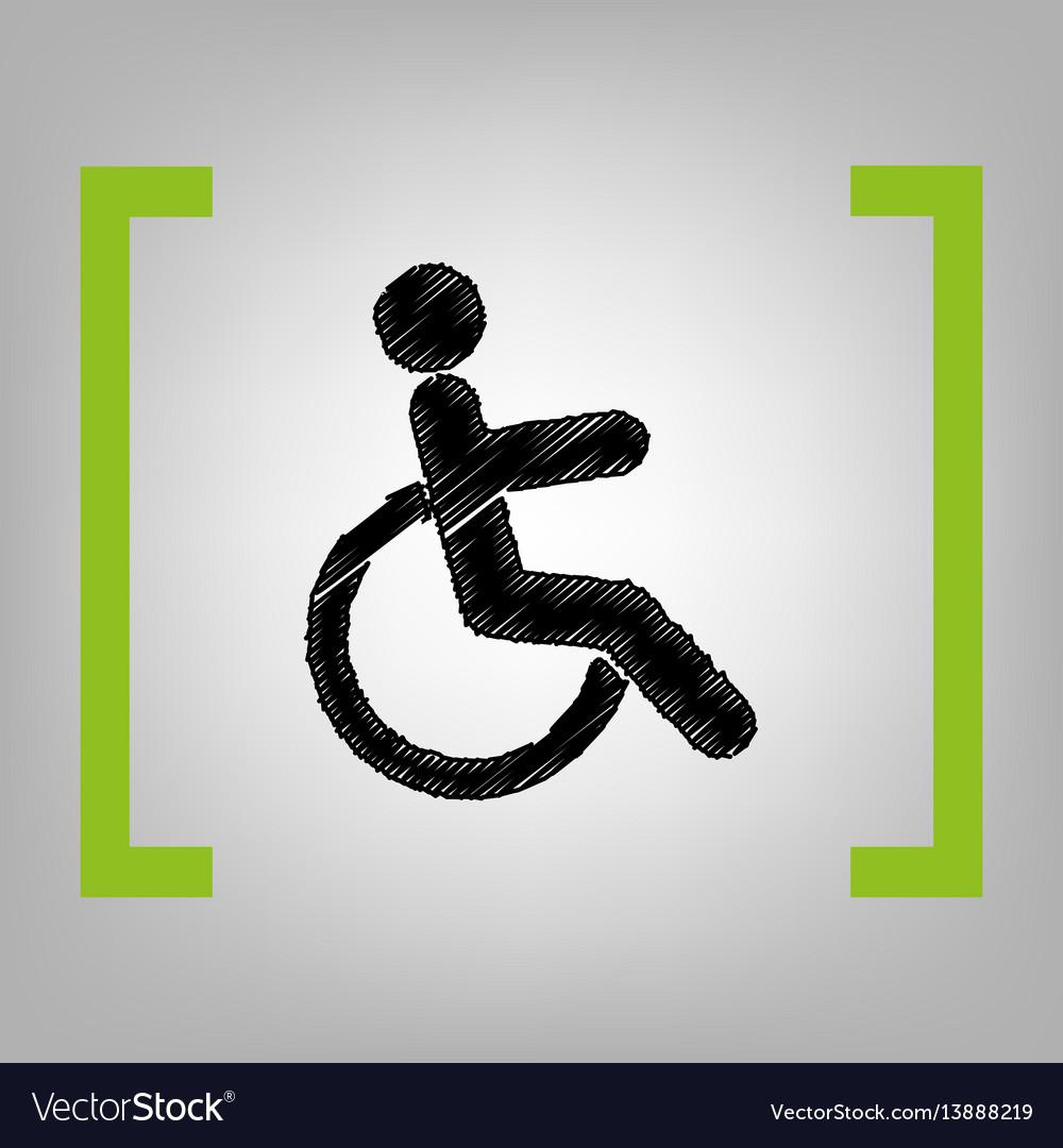 Disabled sign black scribble