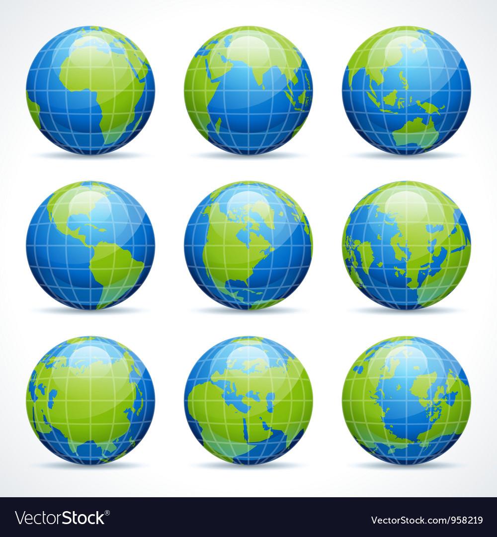 Globe earth icons vector image