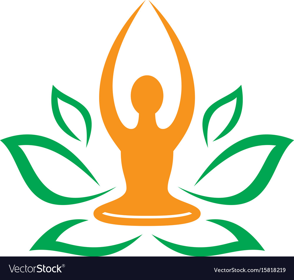 leaf nature yoga meditation logo royalty free vector image vectorstock