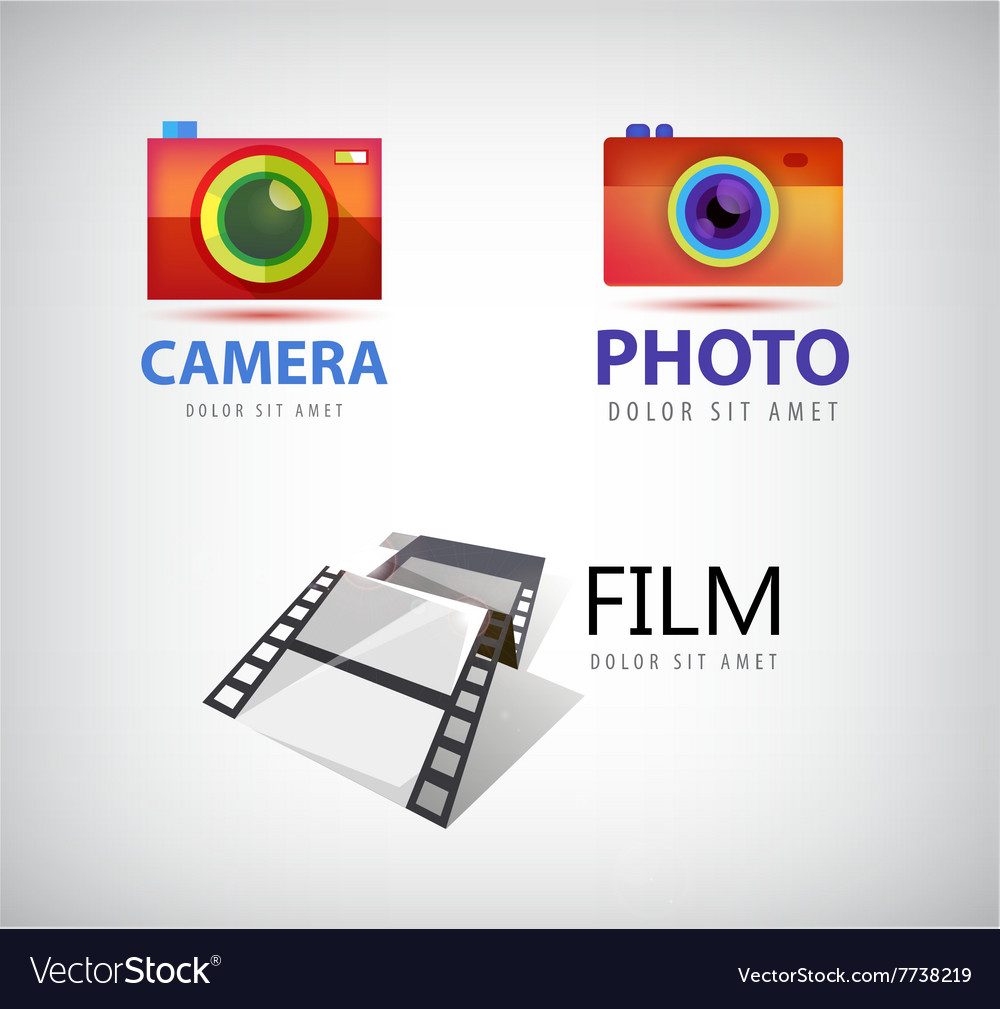 Set of camera logos film icon
