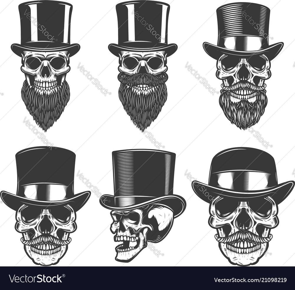 Set of skulls in retro hats design element for