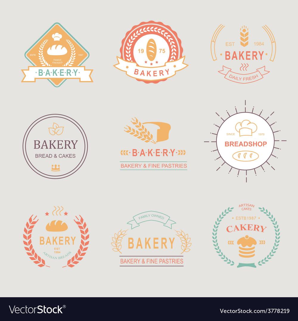 Vintage Retro Bakery BadgesLabels logos Bread
