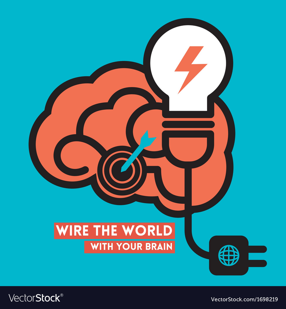 Wire the World Creative Brain Icon with Light Bulb