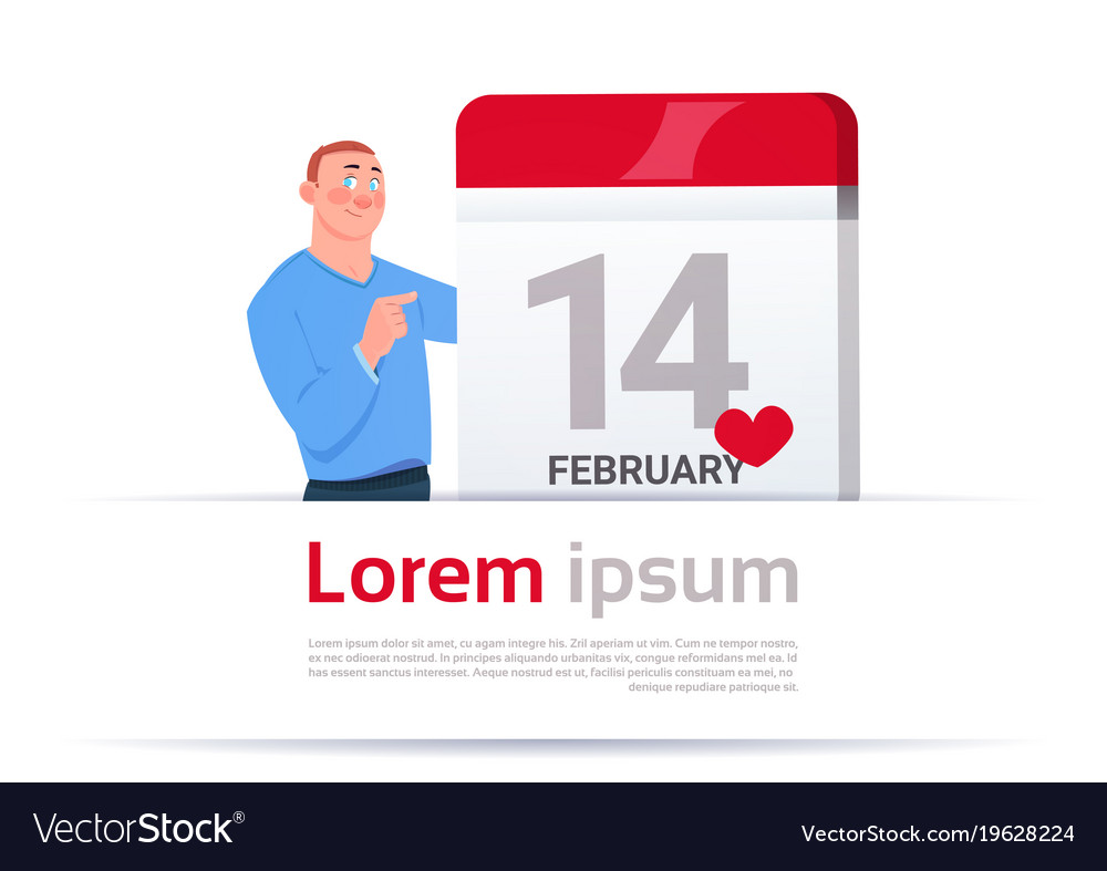 14 february valentines day man calendar page
