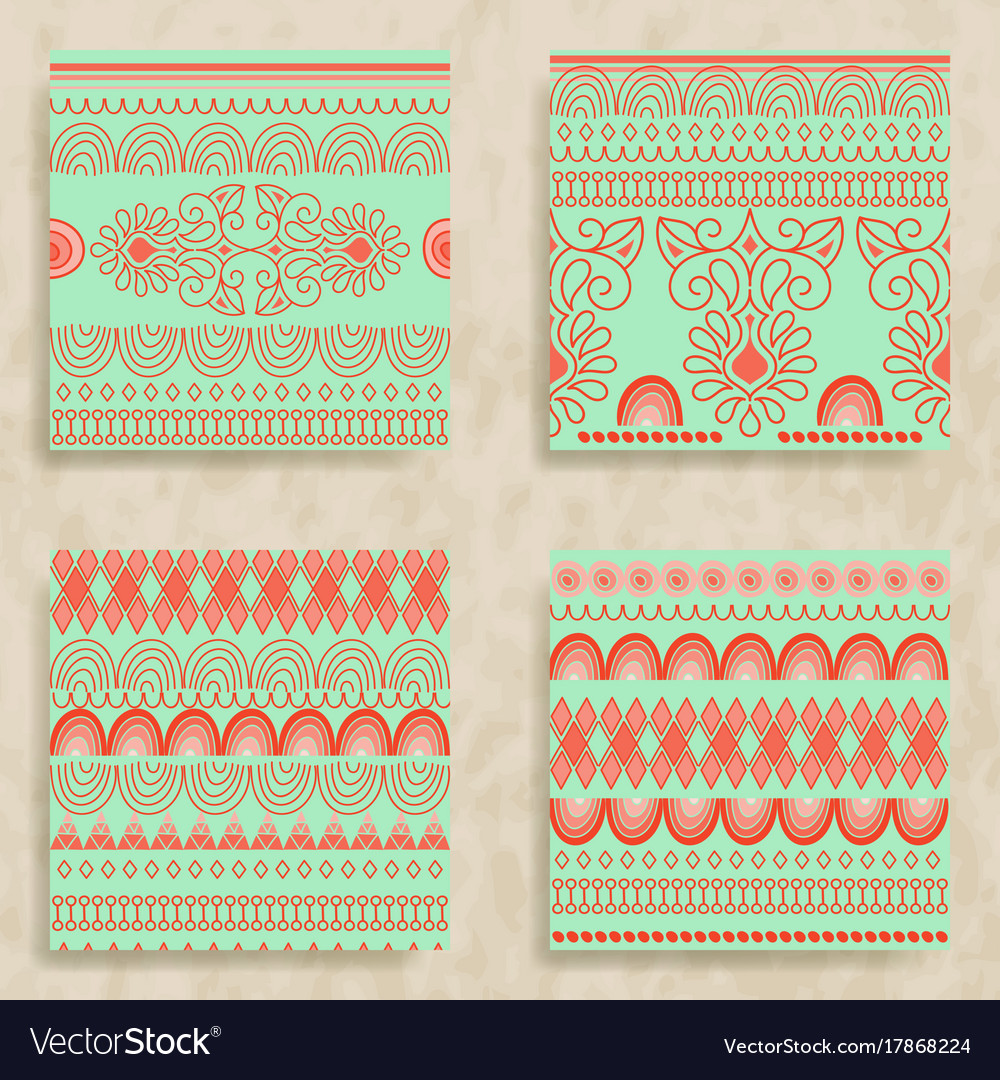 4 tribal seamless patterns