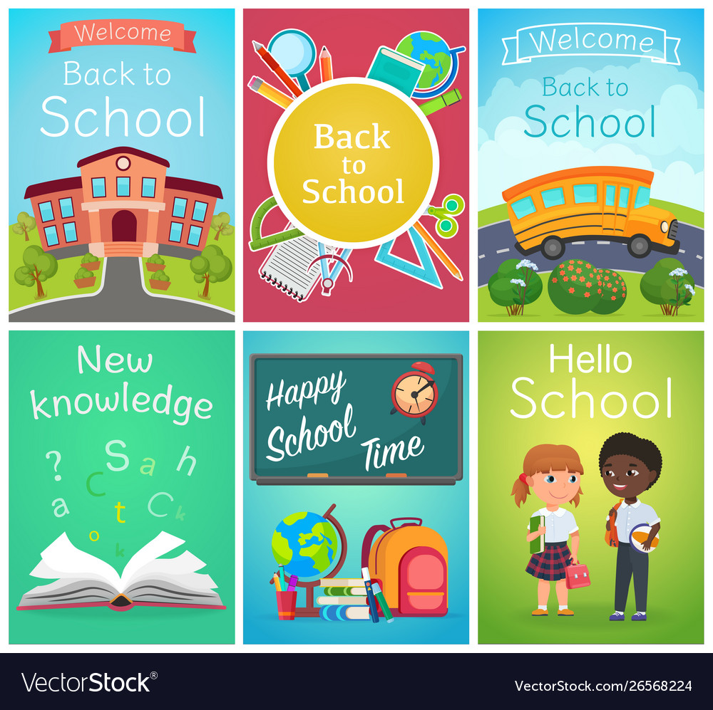 Back to school card banner templates design