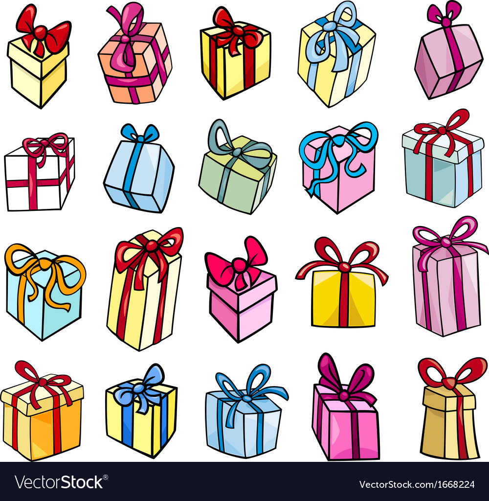 Christmas Gifts Clip Art.Christmas Or Birthday Gift Clip Art Set