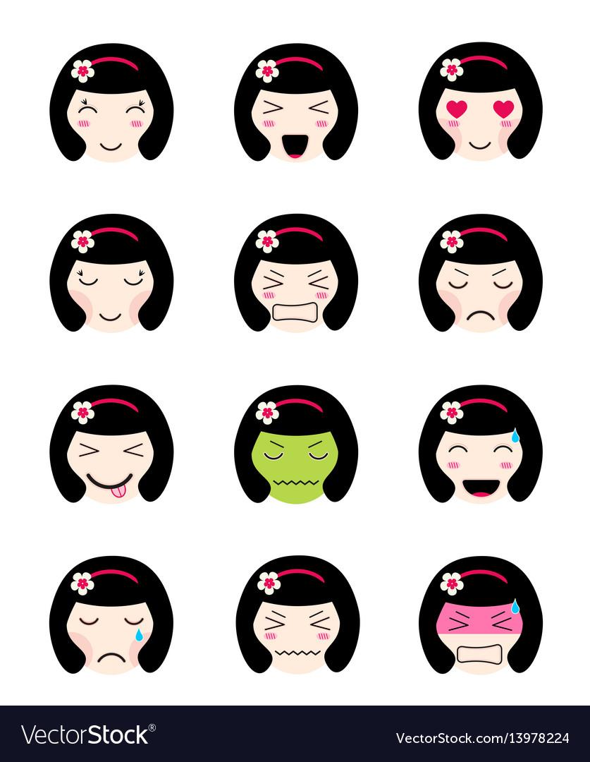 Cute emoji collection kawaii asian girl face