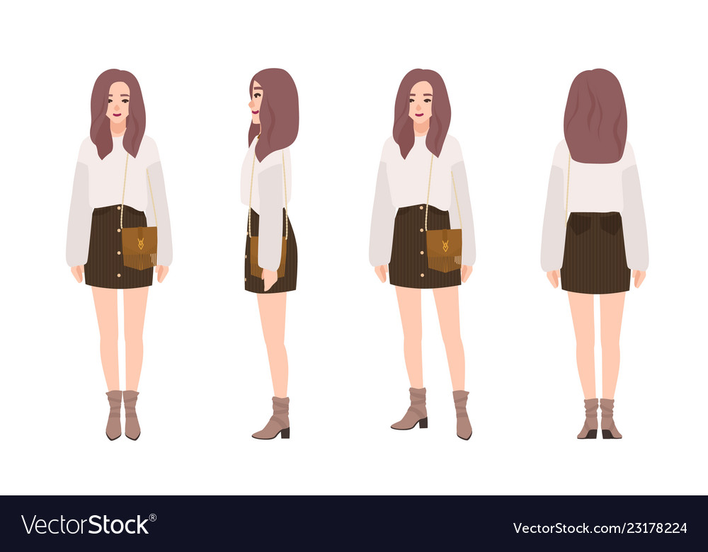 Cute smiling girl dressed in trendy casual clothes