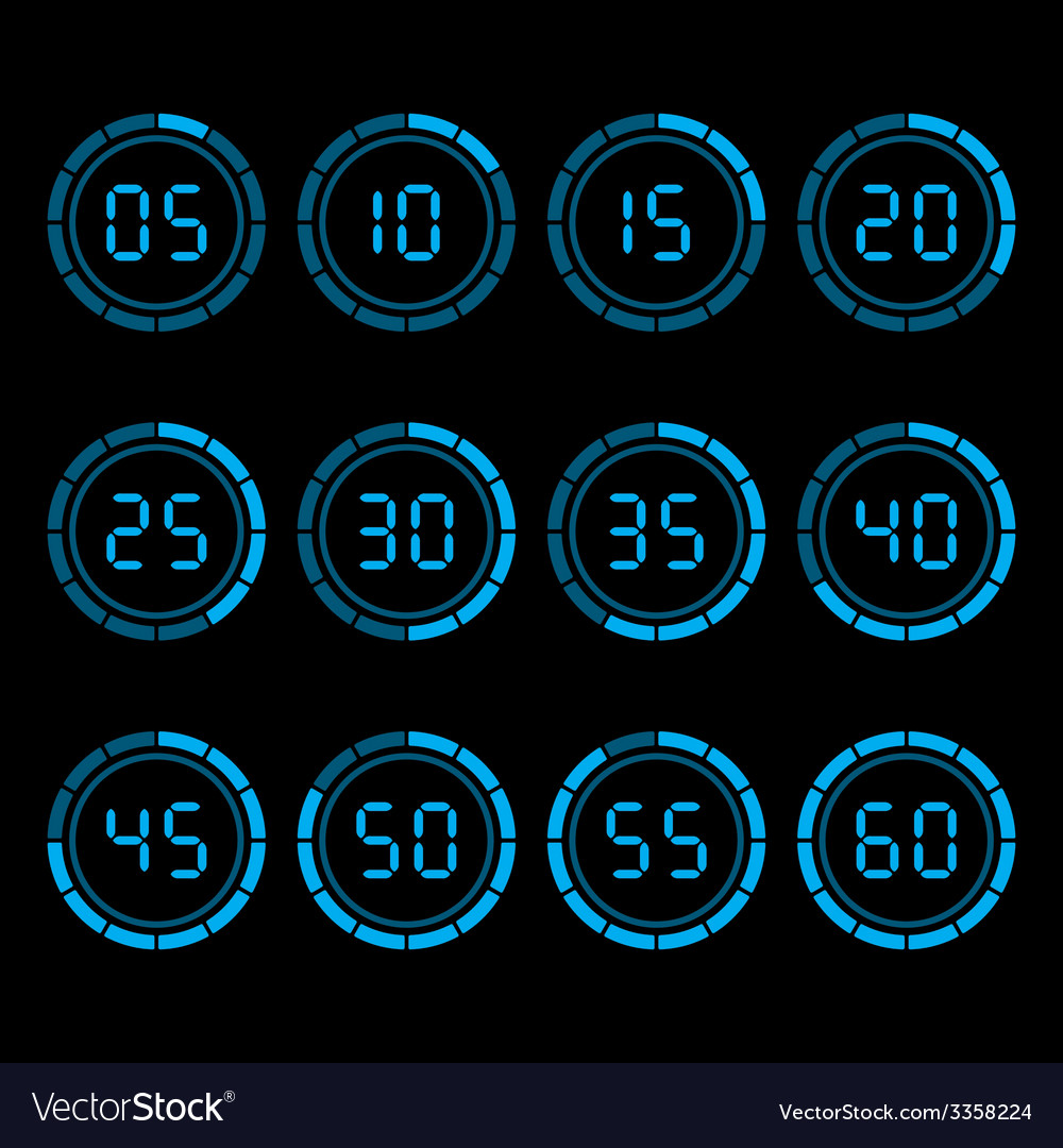 digital countdown timer with five minutes interval