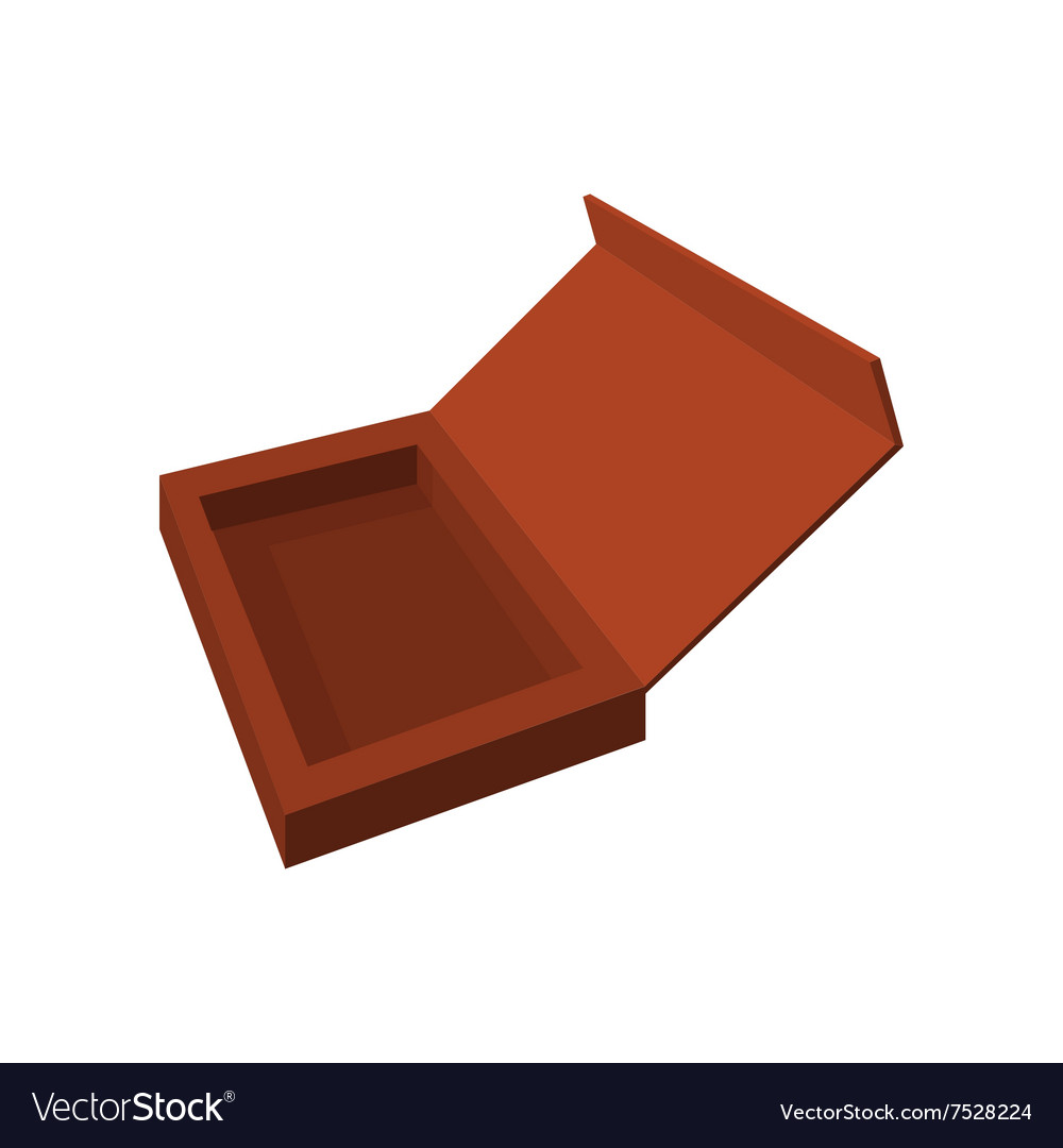 Empty brown chocolate box cartoon icon vector image