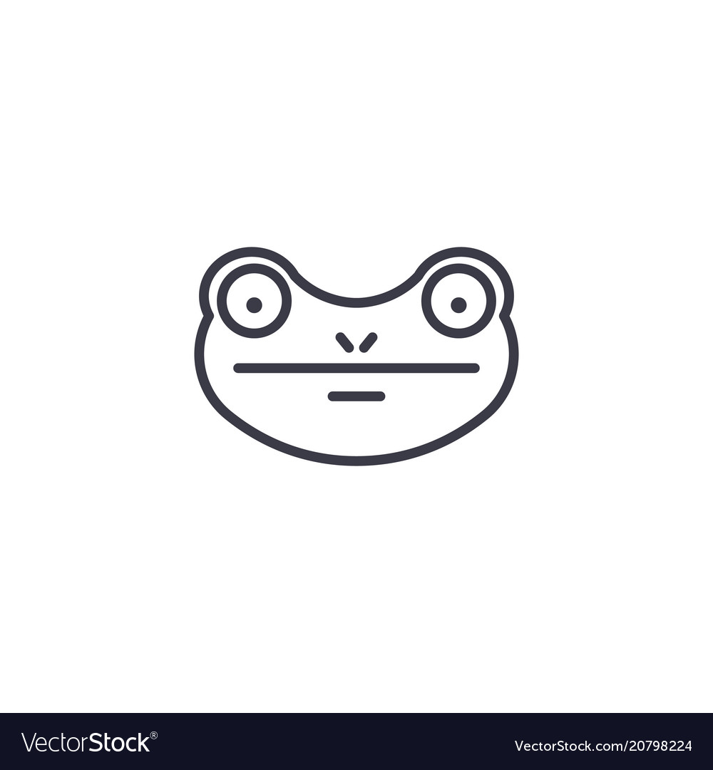 Frog line icon sign on