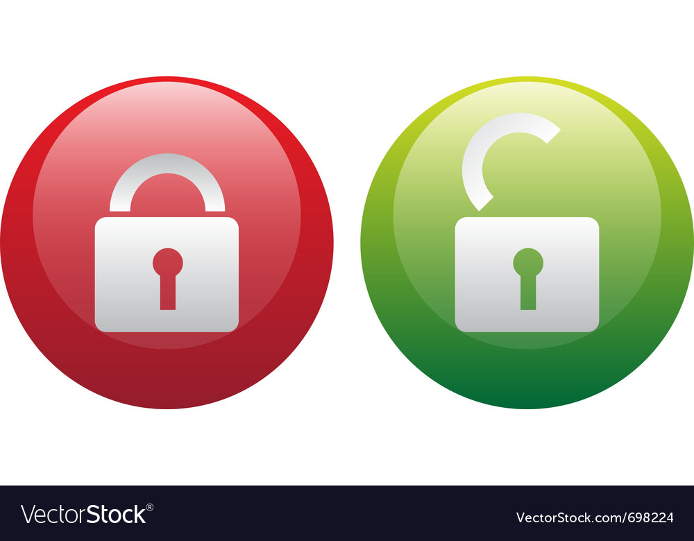 Glassy lock and unlock icon set vector image