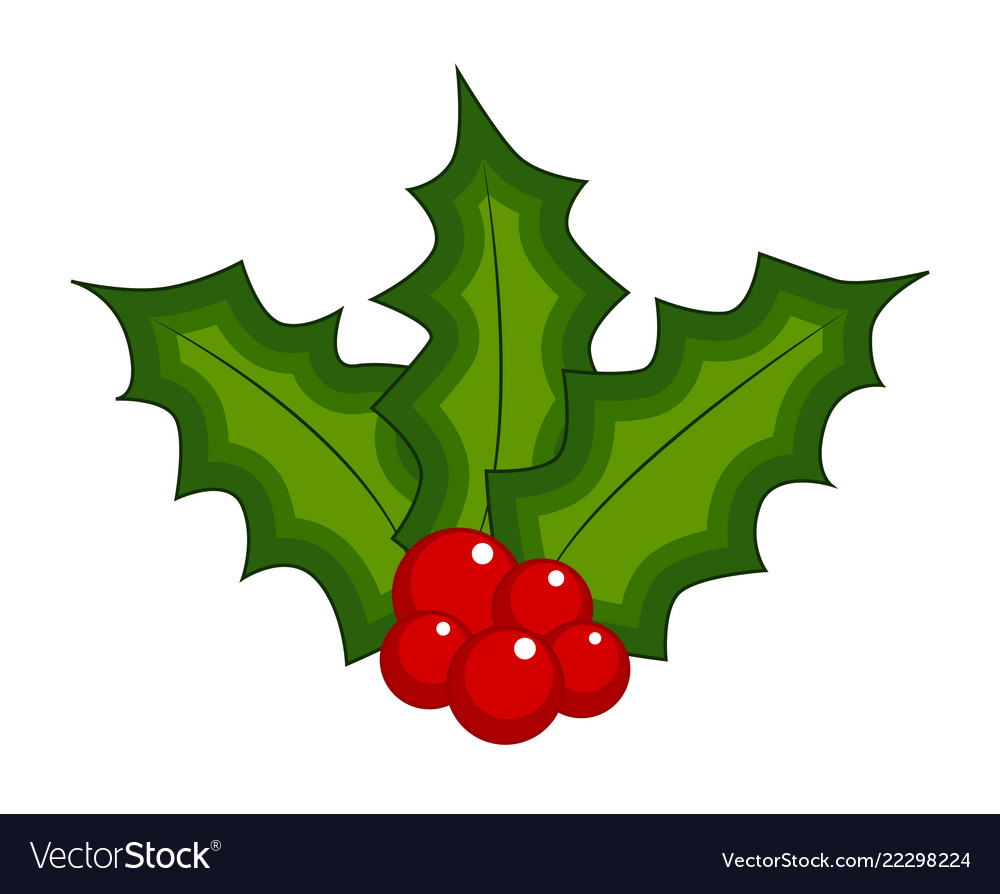 Christmas Leaves.Holly Berry Christmas Leaves And Fruits Icon