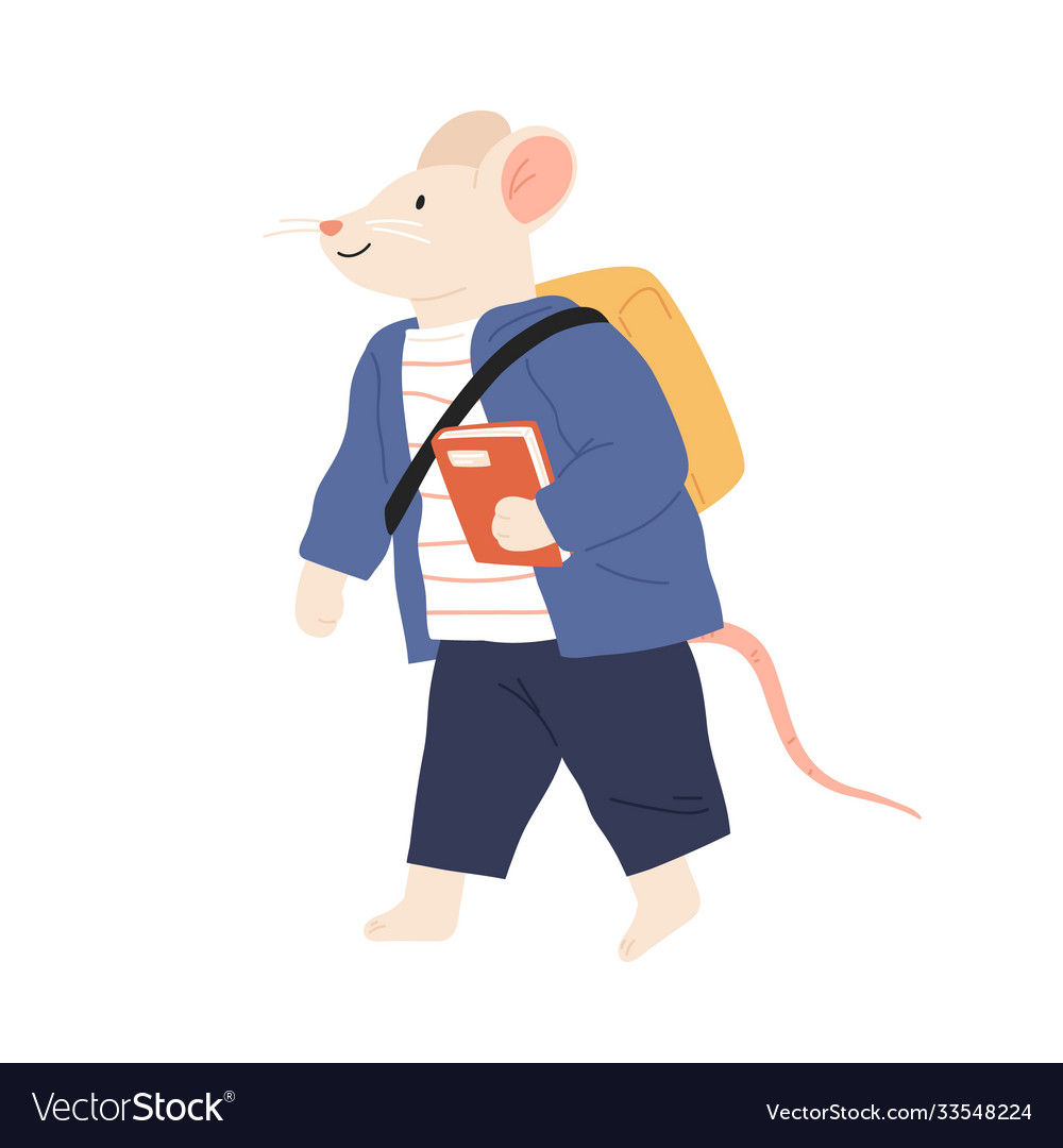 Rat or mouse cub in clothes with schoolbag