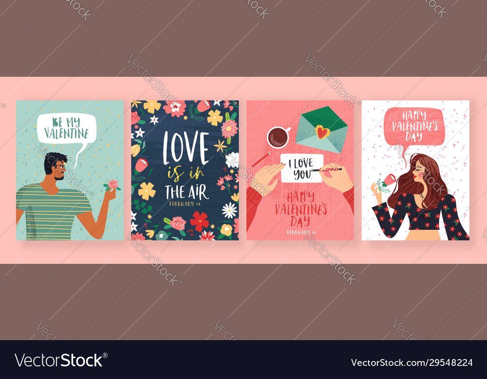 Valentines day love people greeting card set