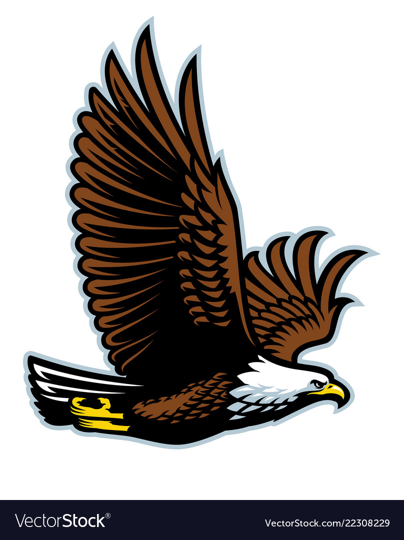 Bald eagle flying mascot
