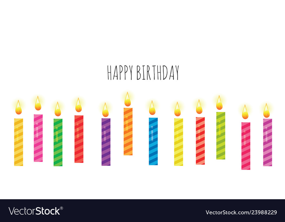 Birthday greeting card template colorful candles