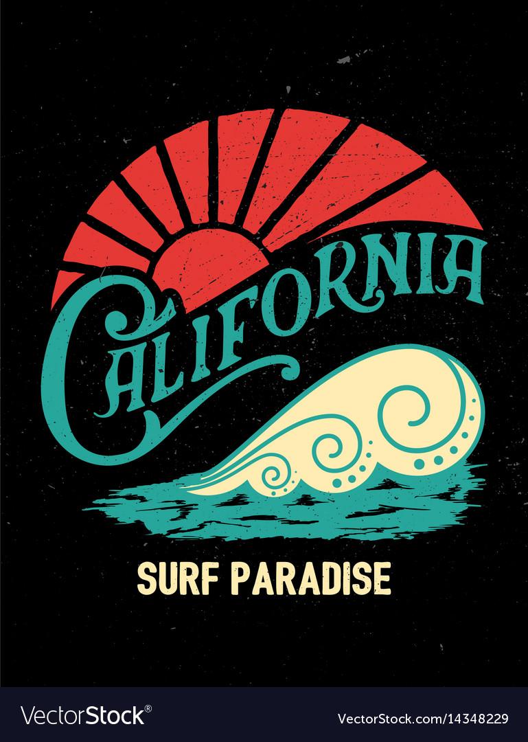 California vintage printsurf graphic