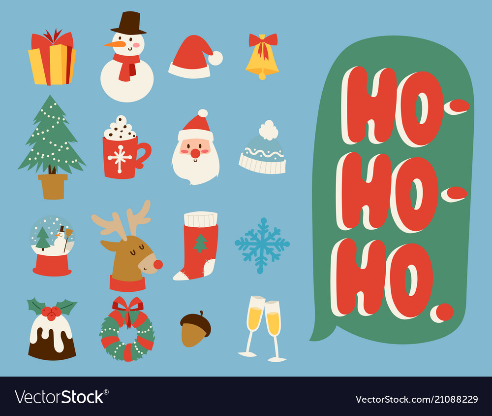 Christmas icons symbols for greeting card