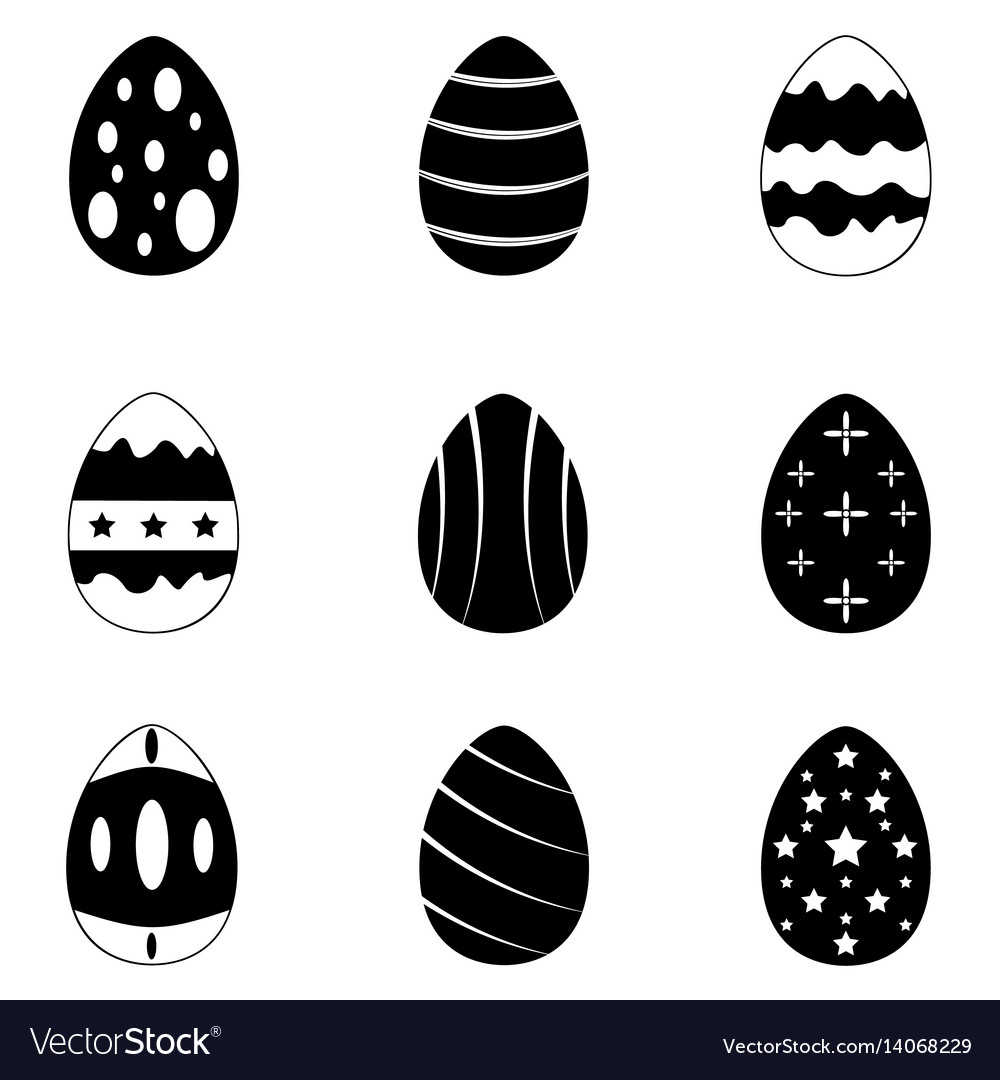 Easter eggs icons set