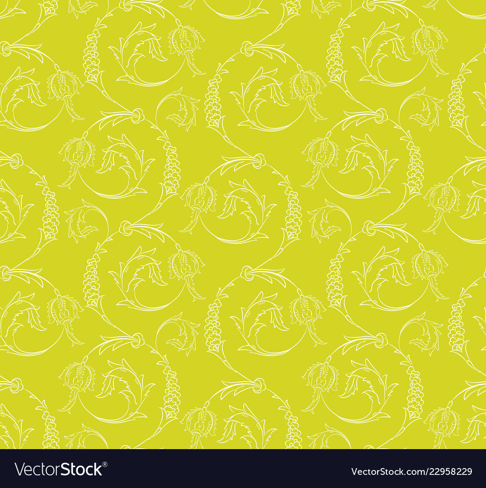 Floral swirls seamless pattern