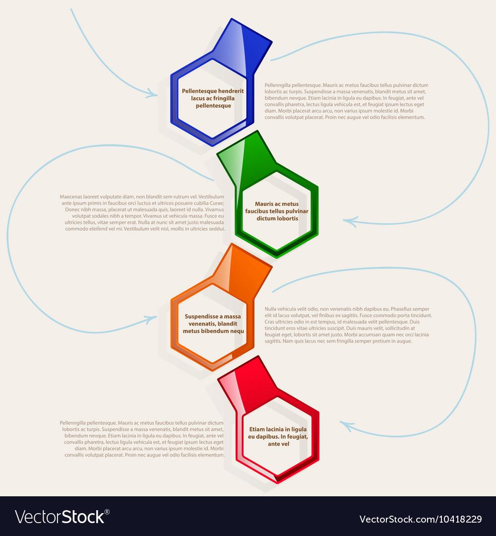Four color hexagonal frames for text or
