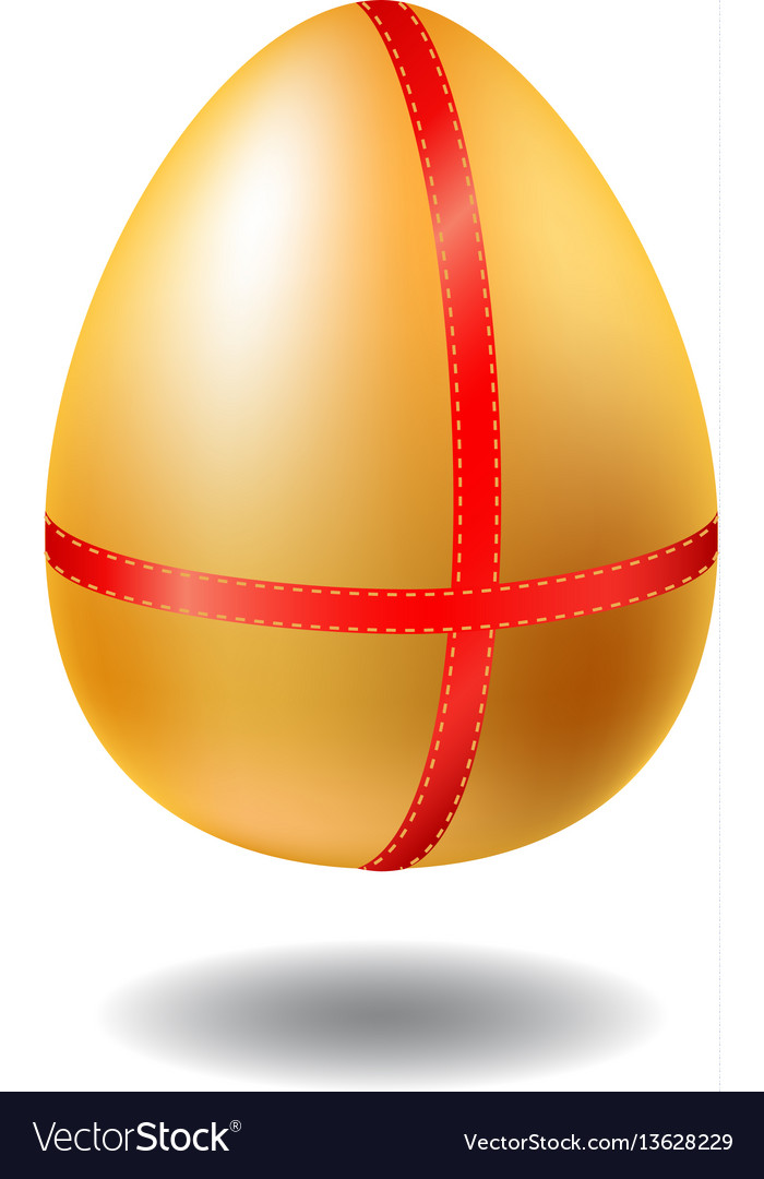 Golden egg with red ribbon and shadow chicken egg