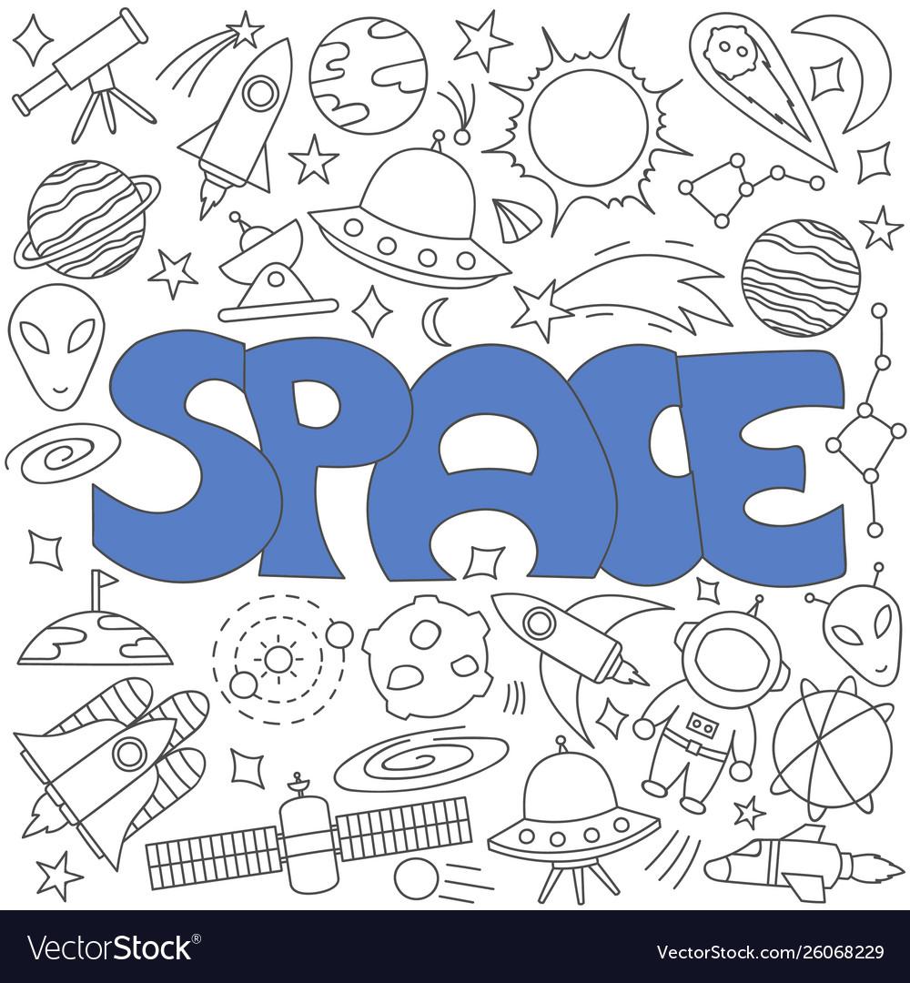 Hand drawn doodle space set