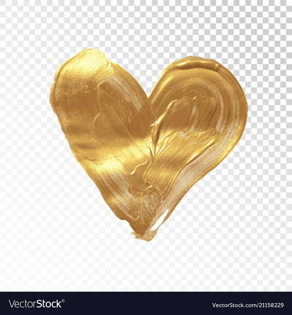 Heart hand painted golden background