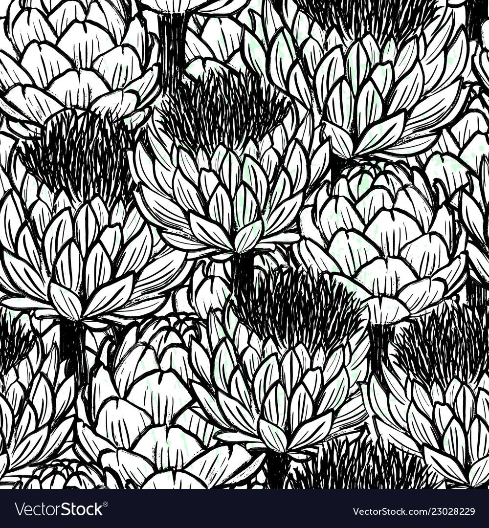 Ink hand drawn artichokes seamless patterns black