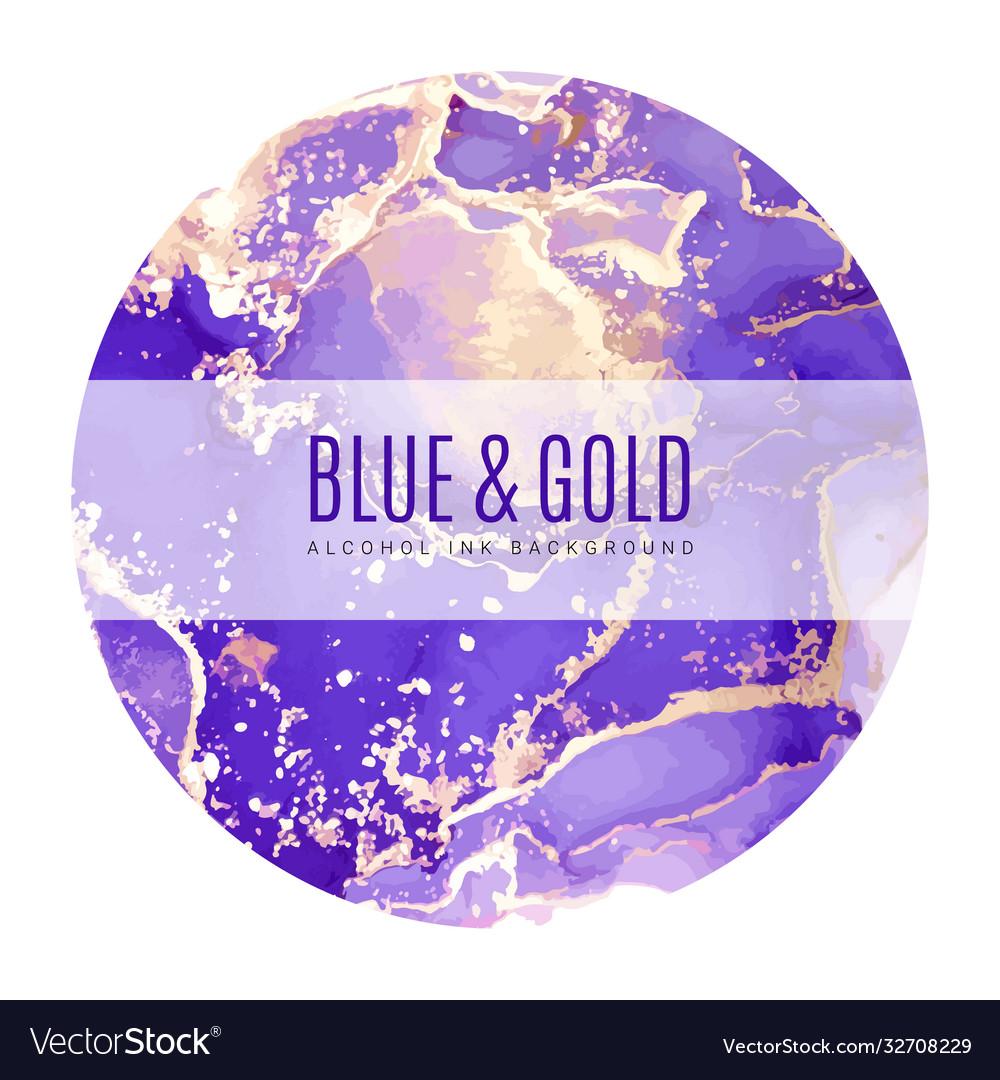 Round poster wet ink background blue gold