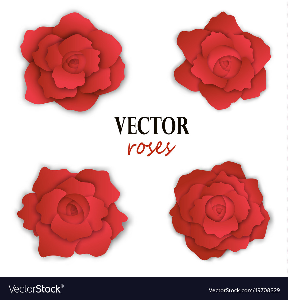 Set of four paper red roses vector image
