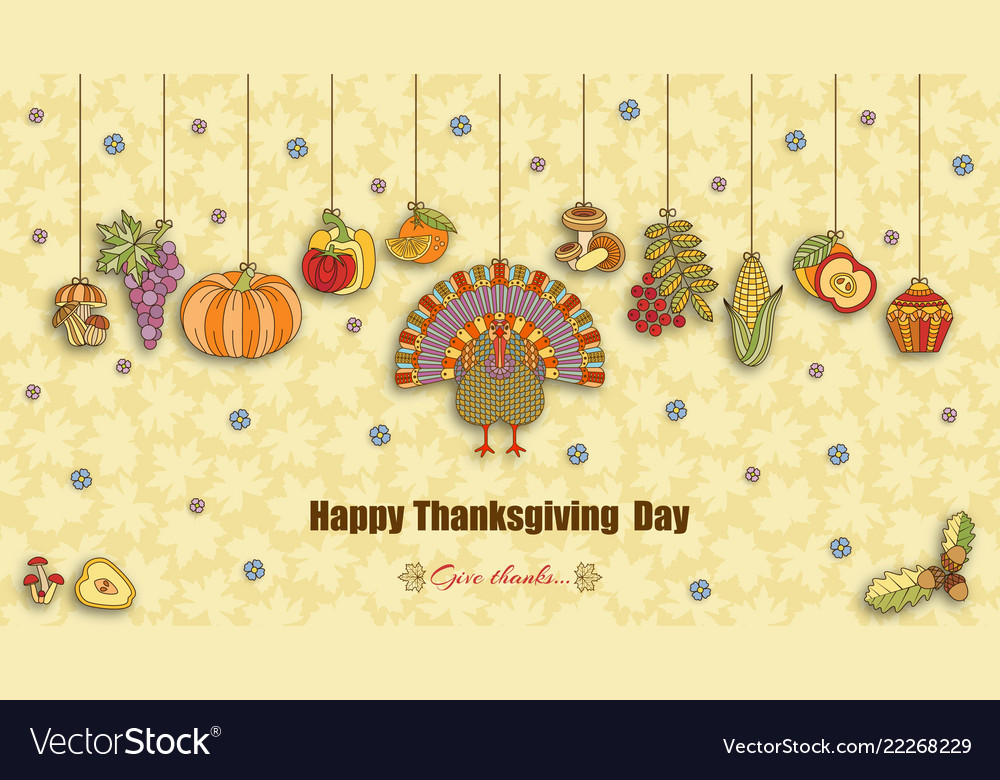 Thanksgiving day greeting card various elements